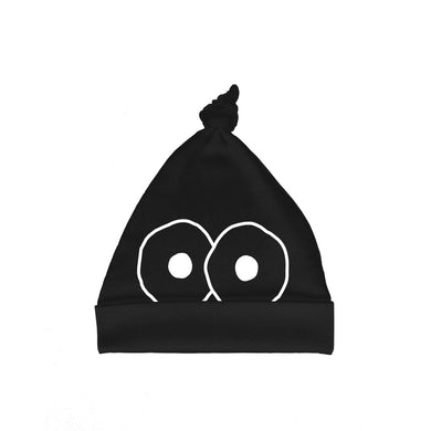 Bugged Out googly eyes cotton baby hat - black