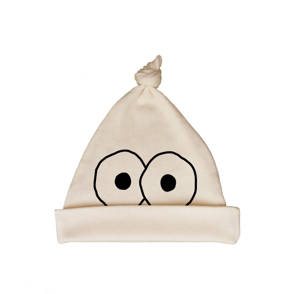 Bugged Out googly eyes organic cotton baby hat - natural