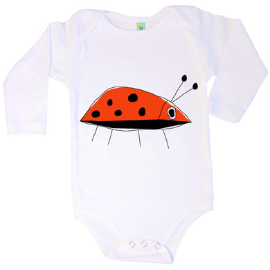 Bugged Out ladybug long sleeve baby onesie