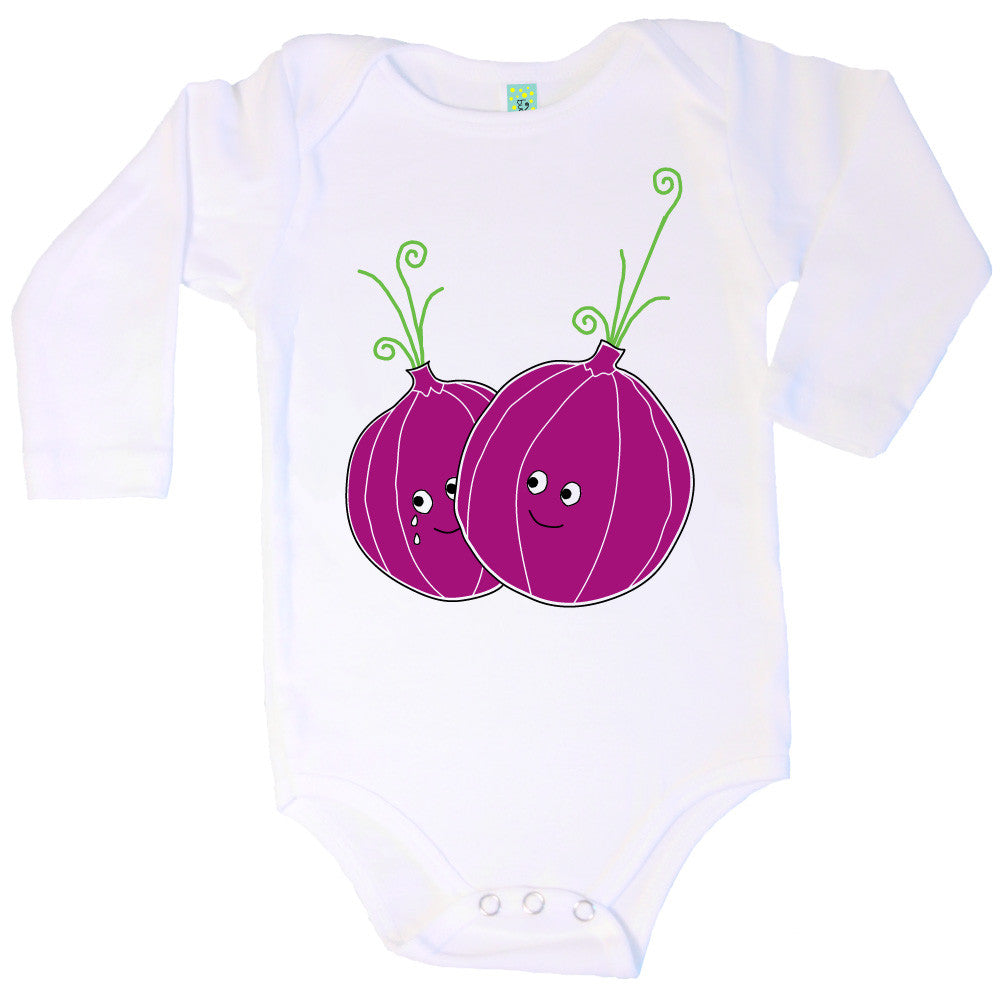 Bugged Out onion long sleeve baby onesie