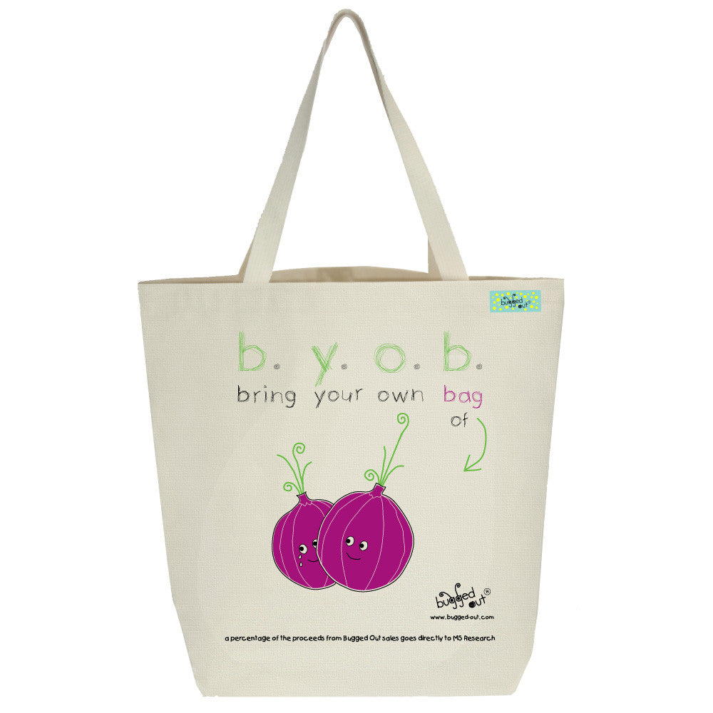 Bugged Out onion tote bag