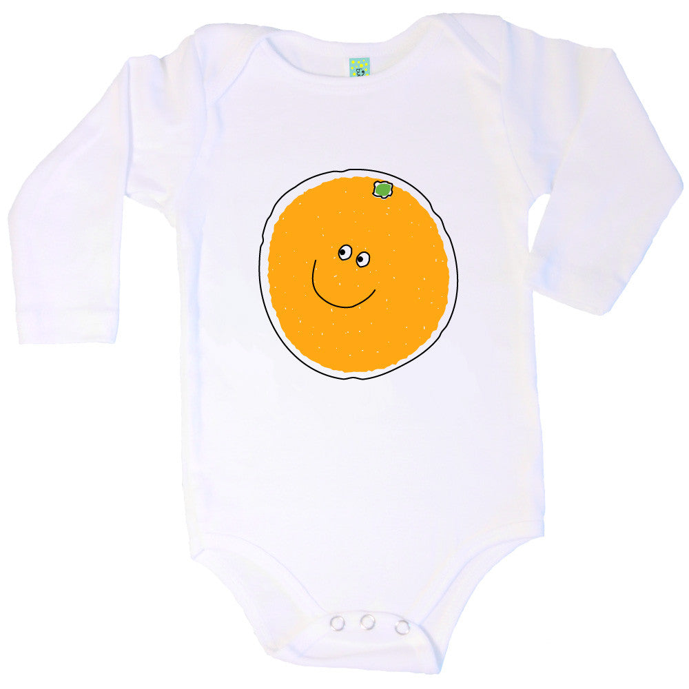 Bugged Out orange long sleeve baby onesie