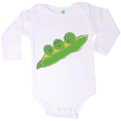 Bugged Out pea long sleeve baby onesie