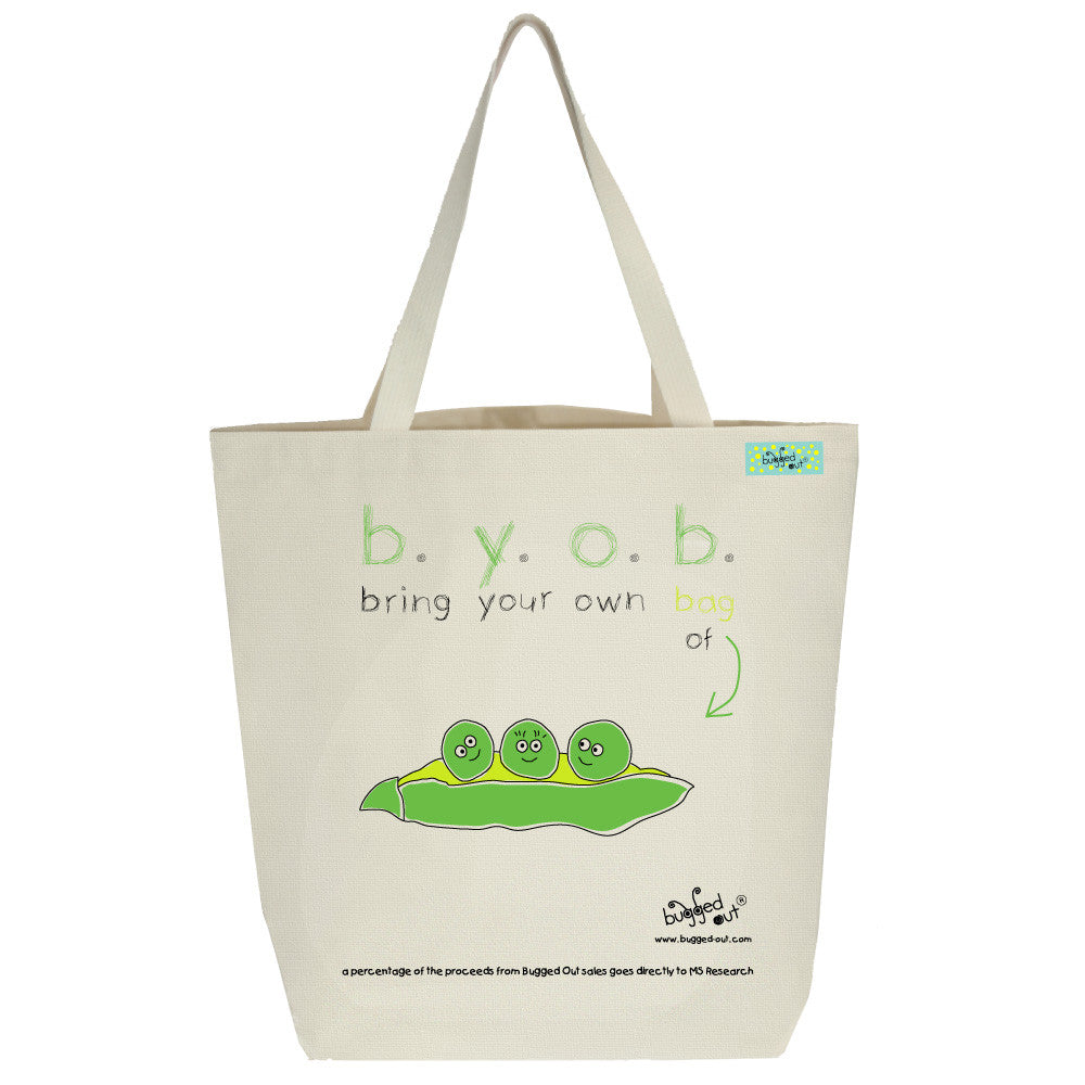 Bugged Out pea tote bag