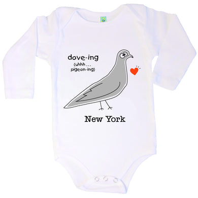 Bugged Out pigeon long sleeve baby onesie
