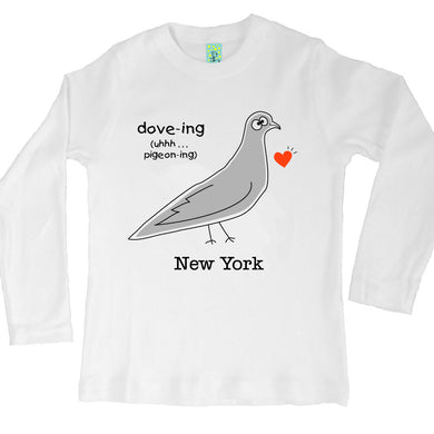 Bugged Out pigeon long sleeve kids t-shirt