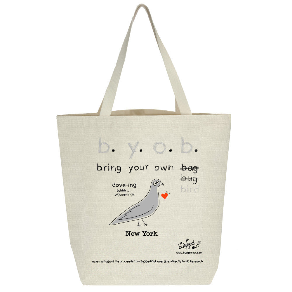 Bugged Out pigeon tote bag