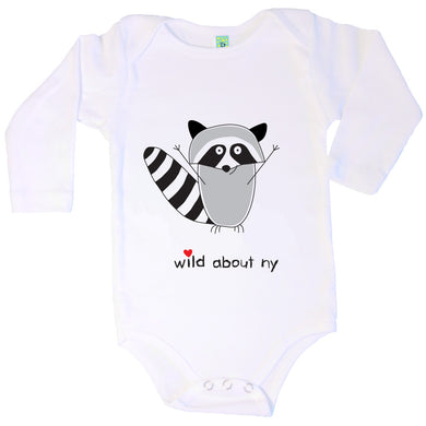 Bugged Out raccoon long sleeve baby onesie