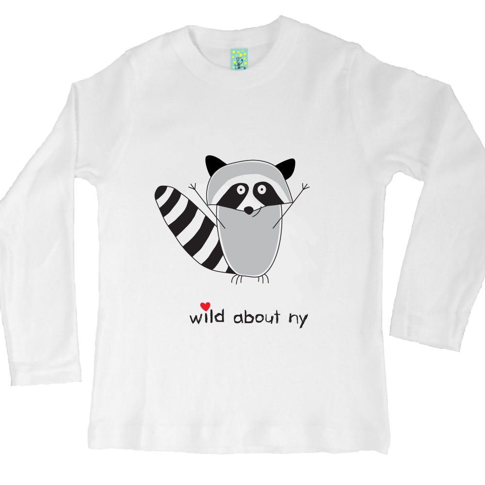 Bugged Out raccoon organic cotton long sleeve kids t-shirt