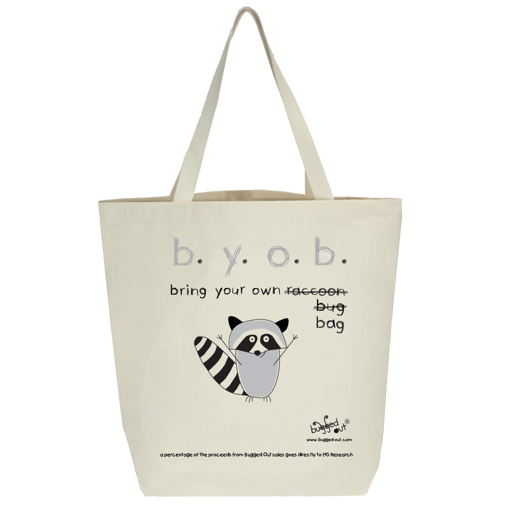 Bugged Out raccoon recycled cotton canvas tote bag