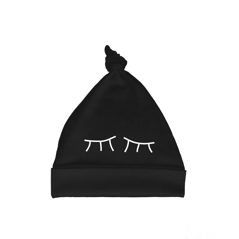 Bugged Out sleepy eyes baby hat - black