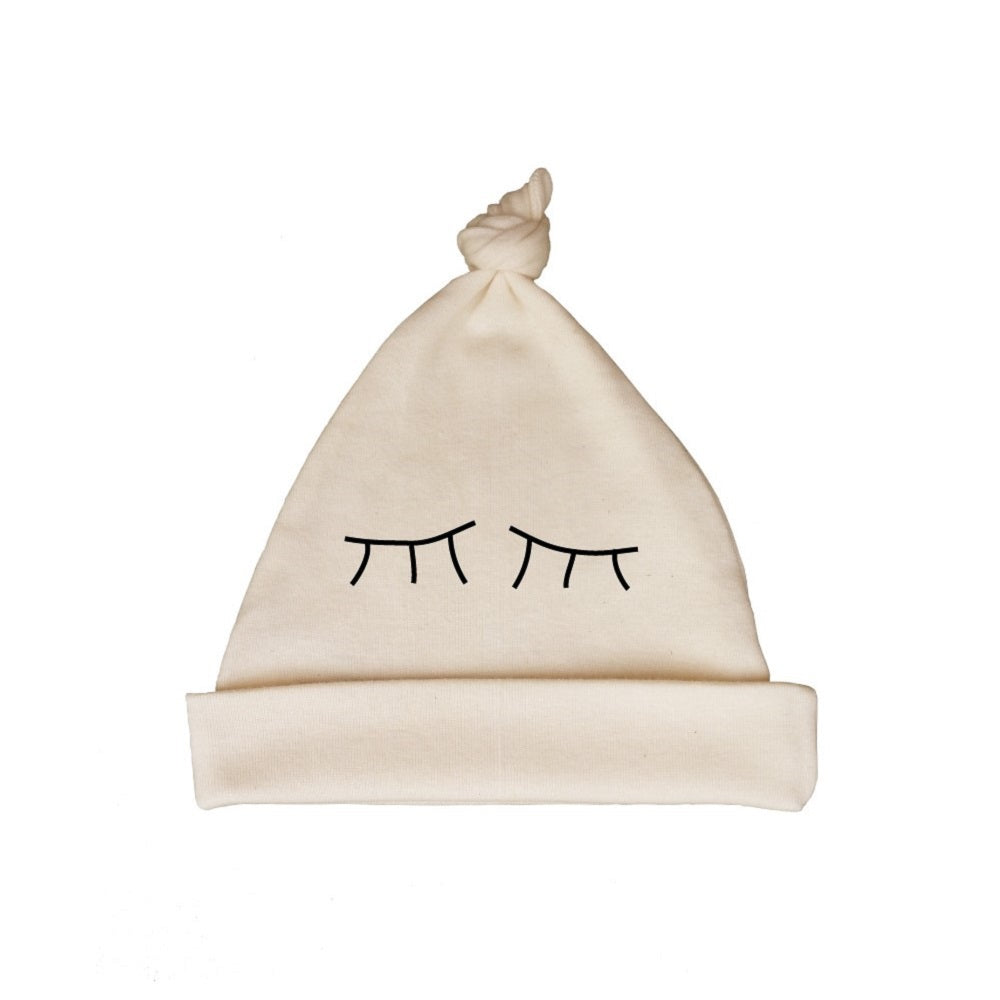 Bugged Out sleepy eyes organic cotton baby hat - natural