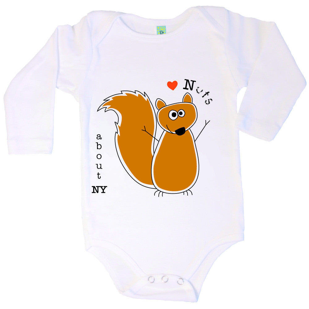 Bugged Out squirrel long sleeve baby onesie