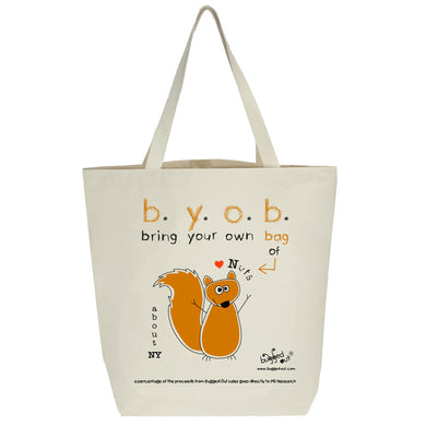 Bugged Out squirrel tote bag