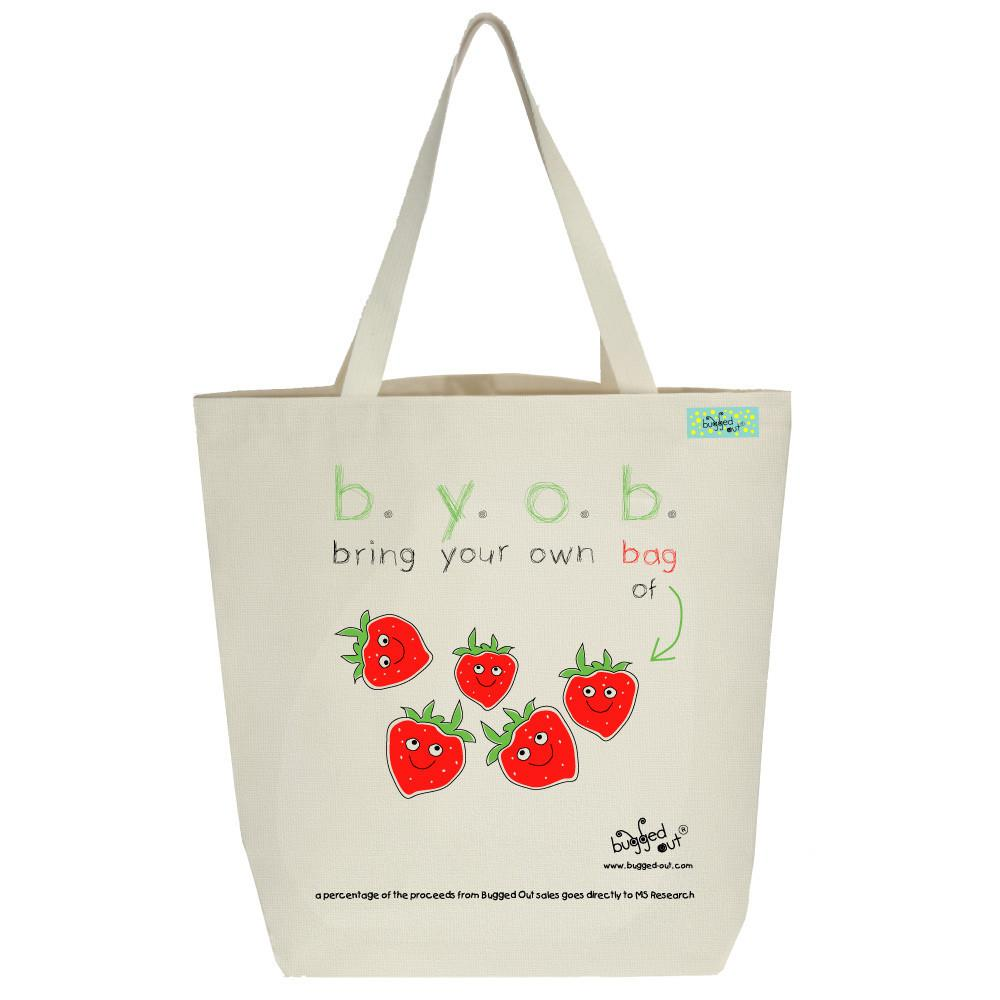 Bugged Out strawberry tote bag