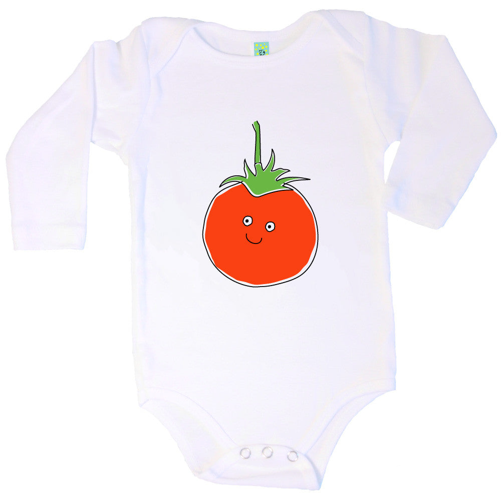 Bugged Out tomato long sleeve baby onesie