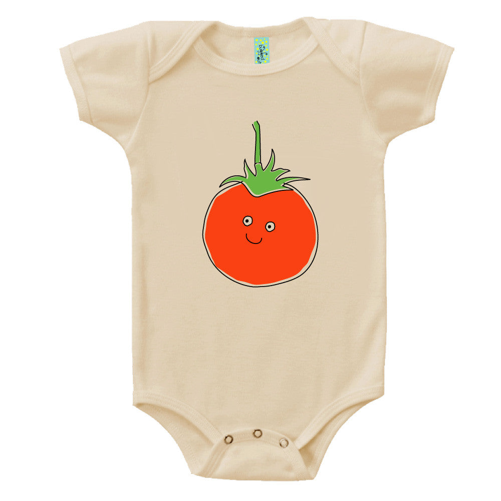 Bugged Out tomato short sleeve baby onesie