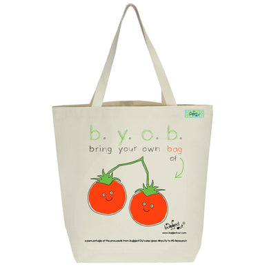 Bugged Out tomato tote bag