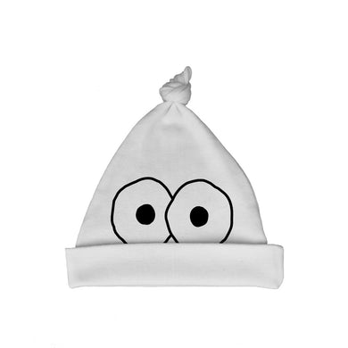 Bugged Out googly eyes organic cotton baby hat - white