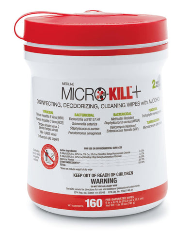 Microkill Plus Sanitation Wipes - Case of 12 Tubs