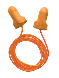Single Use T-Shaped Orange Polyurethane And Foam Corded Earplugs - Box of 100 Pairs