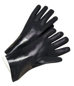 Black Double Dipped PVC Glove With Sandpaper Grip, Interlock Lining