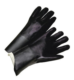 Black Double Dipped PVC Glove With Sandpaper Grip, Jersey Lining
