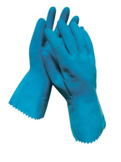 "Blue 12"" Unlined 18 MIL Textured Palm Natural Latex Glove"
