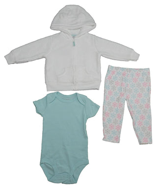 Carter's 3-Pc. Baby Girls 9 Mo.Bodysuit, Leggings, & Overcoat, White/Teal/Pink