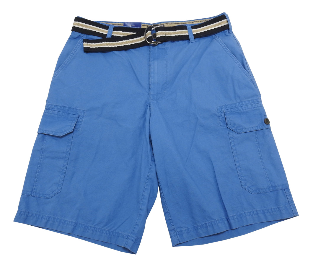 IZOD Saltwater Mens Size 32 Flat Front Belted Cargo Shorts, Federal Blue