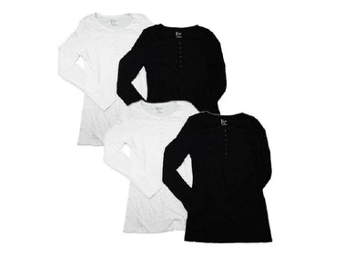 (4-Pack) Felina Ladies Small (4/6) Long Sleeve Rib Knit Henley Top, Black/White