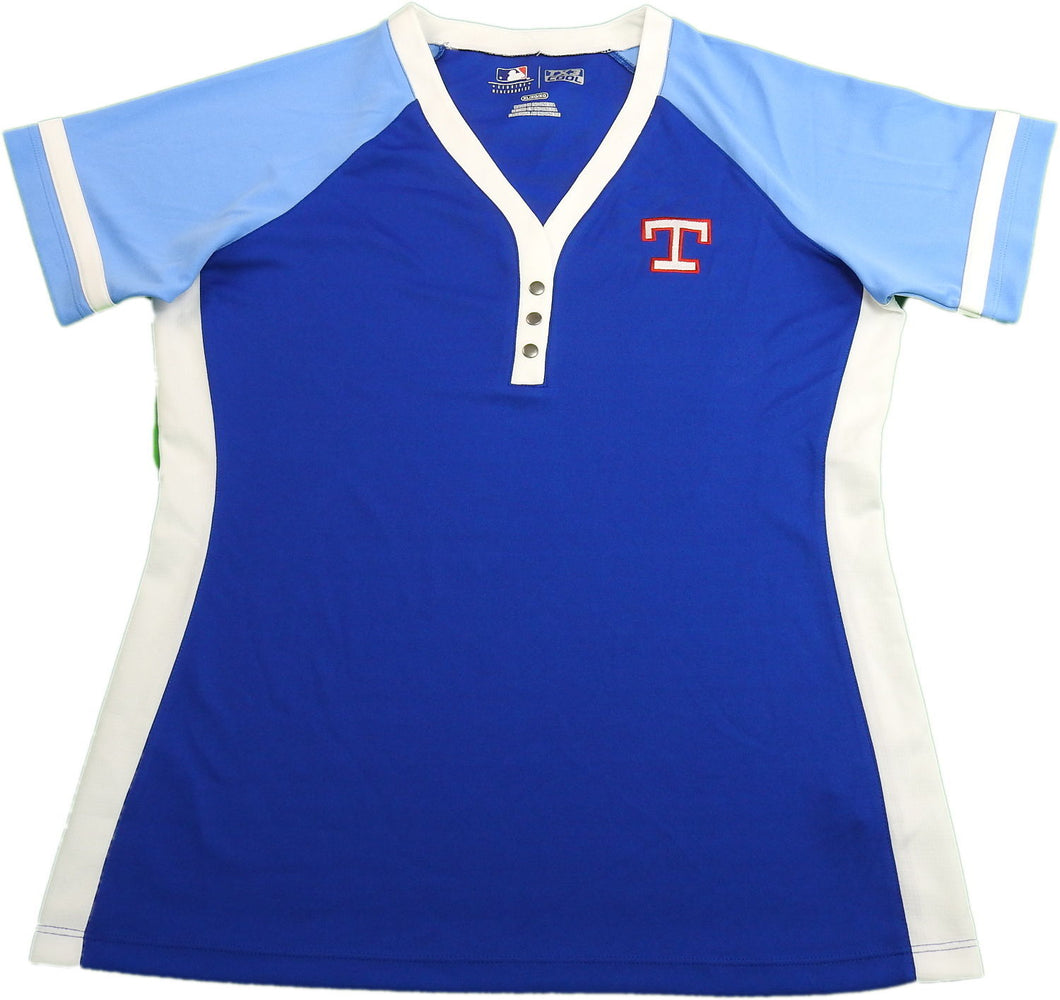 Cooperstown Ladies Size Medium Texas Rangers Baseball Jersey, Blue/Red/White