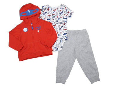 Carter's Baby Boys Size 18 Months Super Cute Hero 3-Pc Hoody Micro Set, Red/Grey