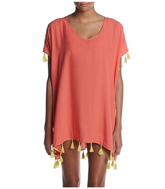 Chelsea & Theodore Womens Large Beach Cover Up, Coral Lily/Mandalay Lime