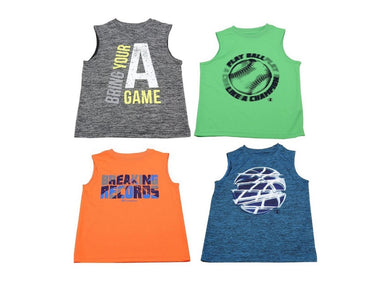 (4-Pack) Champion Boys Size 14/16 Sleeveless Athletic Tank Tops, Multi-Color
