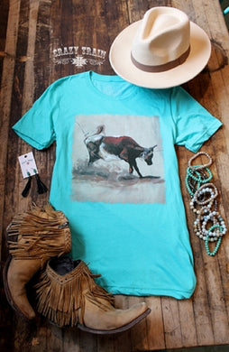Crazy Train Women's Short Sleeve Heel Of A Catch Tee, Turquoise