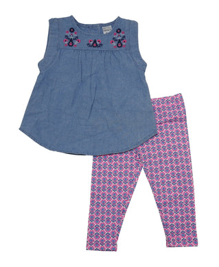 Carter's 2-Piece Baby Girls 6 Months Sleeveless Tops & Legging Set, Blue/Pink