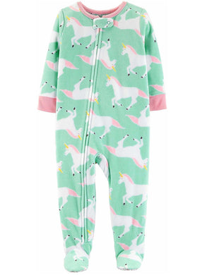 Carter's Toddler Girl Size 2T Footed 1-Piece Unicorn Fleece Sleepwear, Mint/Pink