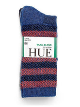HUE Womens Size 4-10 (4-Pack) Wool Blend Crew Socks w/Arch Support, Assorted