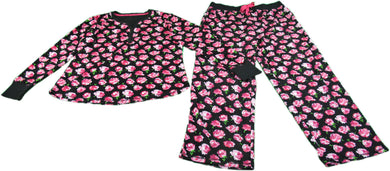 Betsey Johnson Ladies Size Large 2-Pc Top & Pant Floral Set, Black/Multi