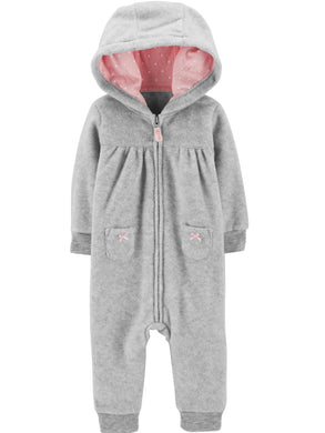 Carters Baby Girls Size 18 Month Hooded 1-Piece Fleece Jumpsuit, Grey/Pink Koala