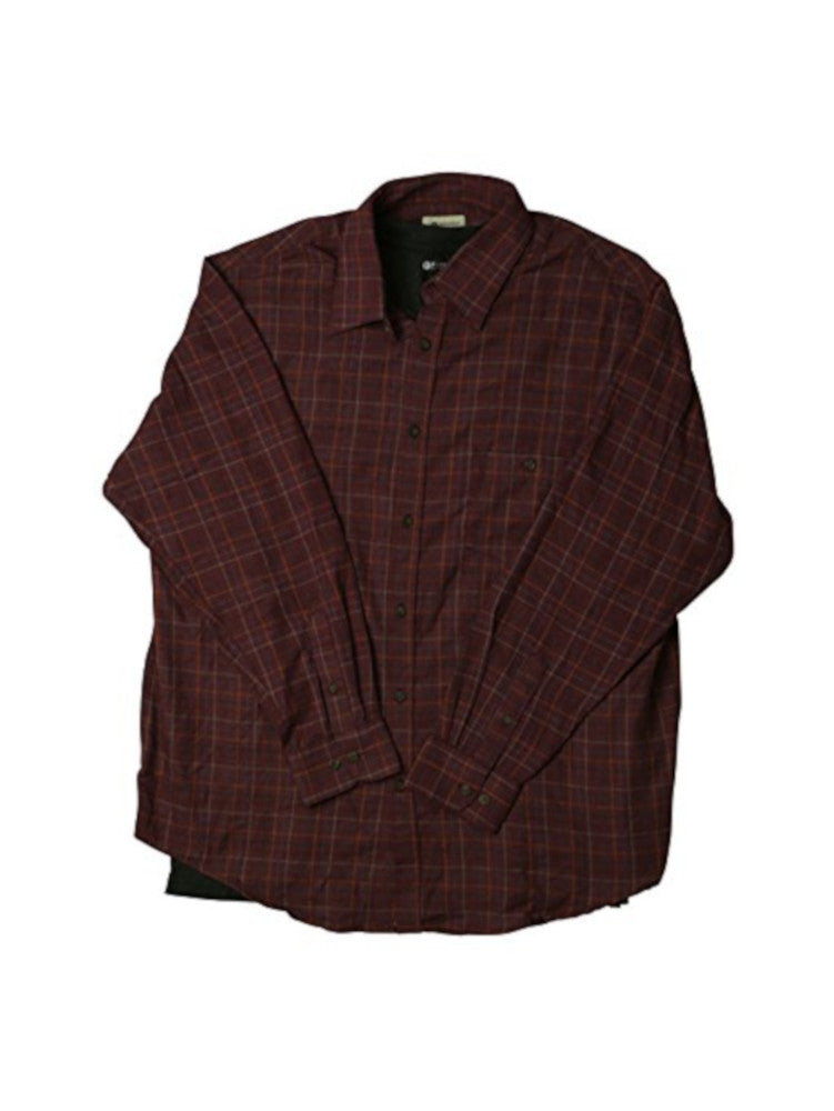 Haggar Mens Size Large 2-Piece Woven Shirt & T-Shirt Set, Oxblood Heather