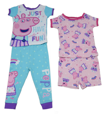 Peppa Pig Baby Girls Size 12 Month Short Sleeve 2 Cotton Sleepwear Sets, Pink