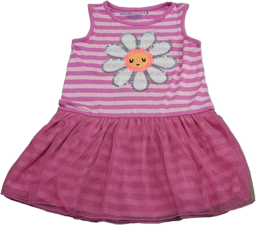 Design History Baby Girls Size 2T Sleeveless 3D Flower Dress, Modern Pink