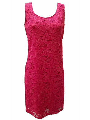 Tiana B. Womens Size X-Large Sleeveless Casual Floral Lace Sheath Dress, Pink