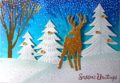 Hallmark Season's Greetings Reindeer 18 Diecut Glitter Handmade Holiday Cards, Multi-Color