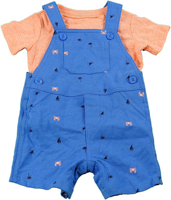 Carter's 2-Piece Baby Boy T-Shirt & Shortall Beach Set, Orange/Blue