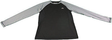 RBX Active Mens Performance Wicking Long Sleeve Compression Top, Steel Grey/Blk