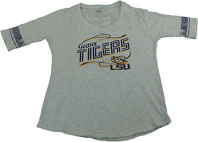 Knights Apparel Ladies Large LSU Tigers V-Neck Team T-Shirt Gray