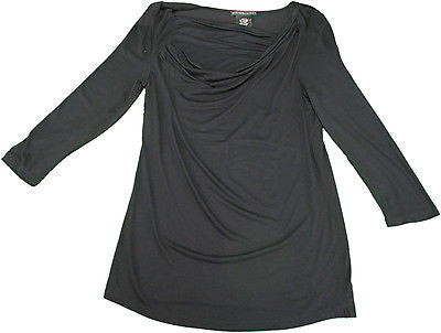 Design History Ladies Size Small Draped Neck 3/4-Sleeve Blouse, Black